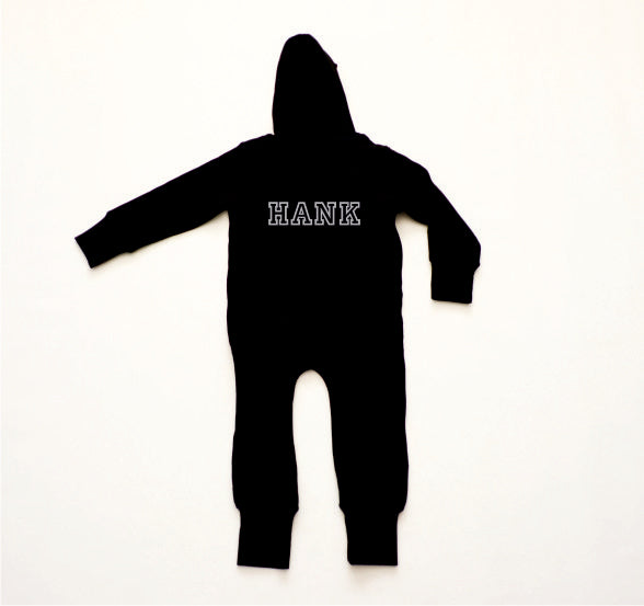 Hank Personalised Black and Grey Onesie