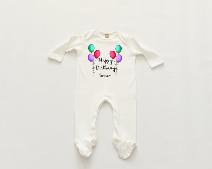 'Happy Birthday to me' Sleepsuit