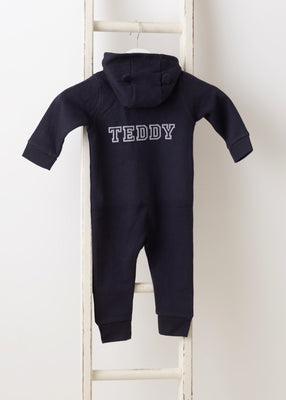 Teddy Personalised All in One (ears on hood) - Navy
