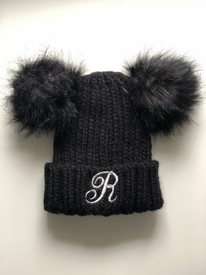 Double Pom Personalised Embroidered Beanie