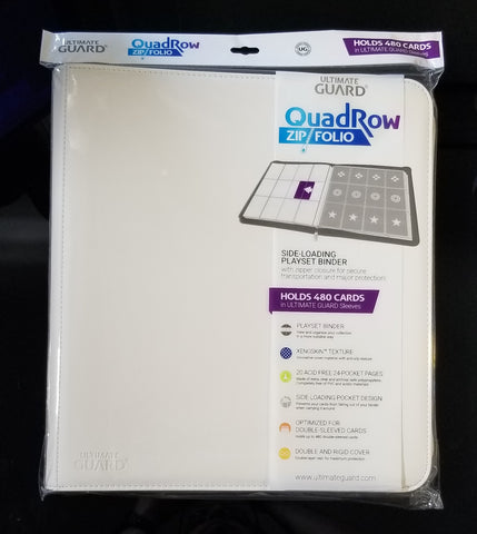 Ultimate Guard 12-Pocket QuadRow ZipFolio - White