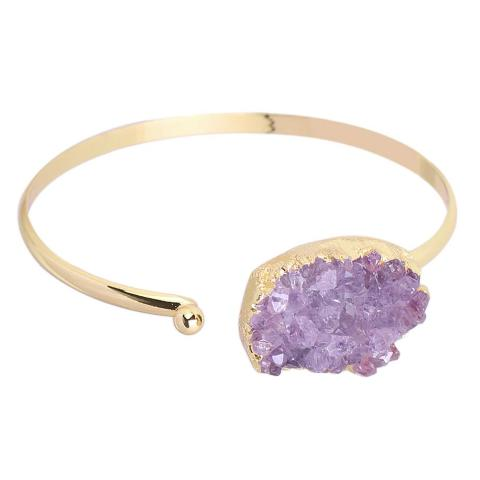 half open design bracelet with semi precious stone Amethyst