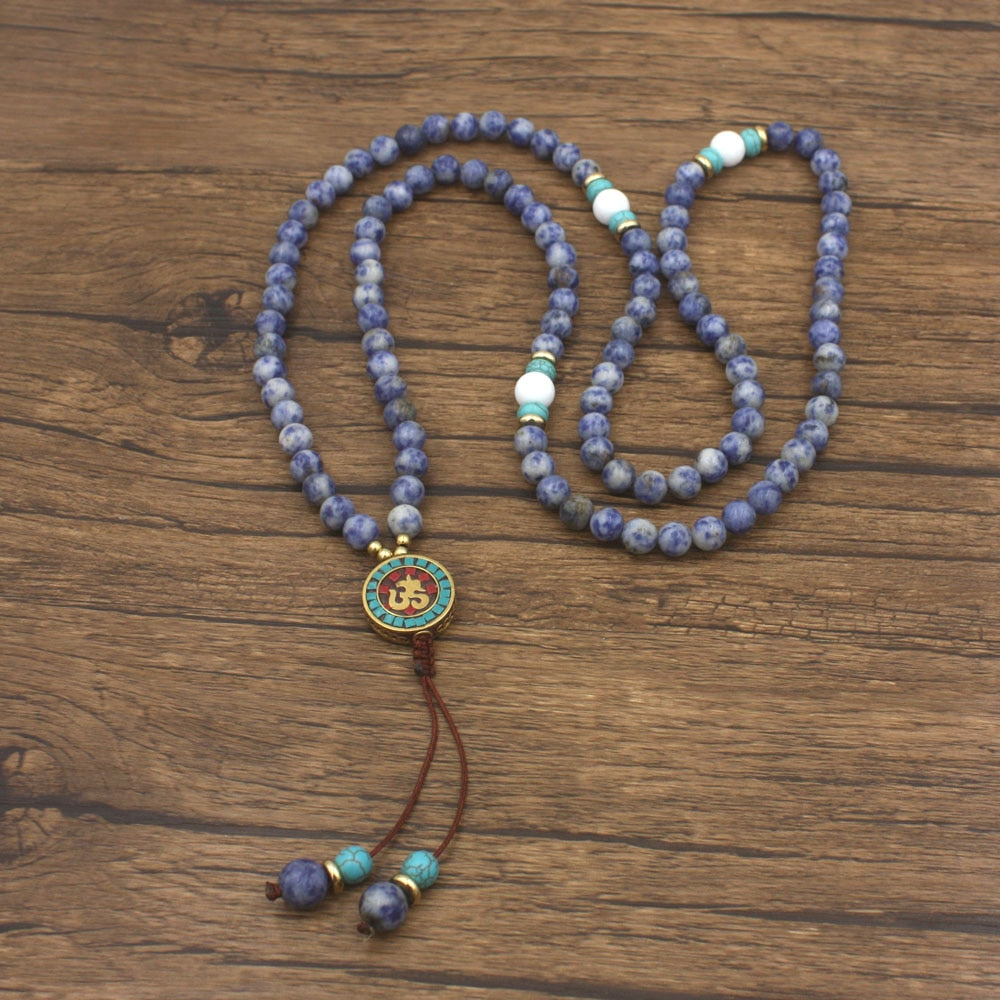 Blue Sodalite Stone Mala Necklace