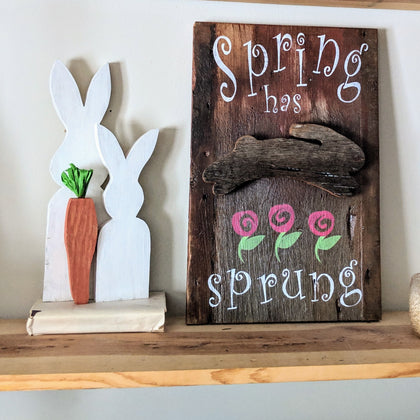 spring signs, rustic signs, barn board home decor, spring decor, farm house signs, spring has sprung, bunnies, rabbit cutouts, Easter decorations, hello spring