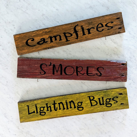 Campfires Smores Lighting Bugs Trio - Graceful Journey Co. Sagewood Sign Co unique gift idea, barn board signs, jewelry, mom essentials, farmhouse style, simplify your life, Premier Designs