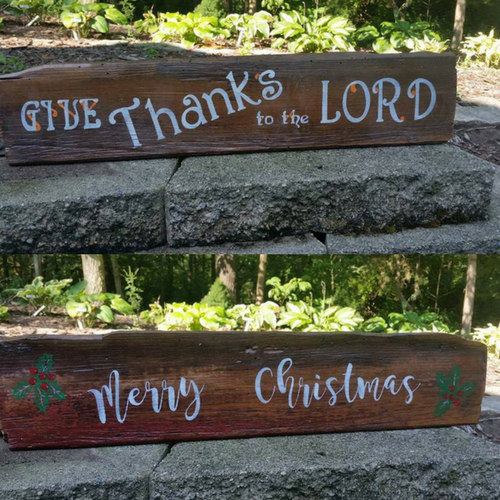 Happy Thanksgiving and Merry Christmas, Double Sided Sign
