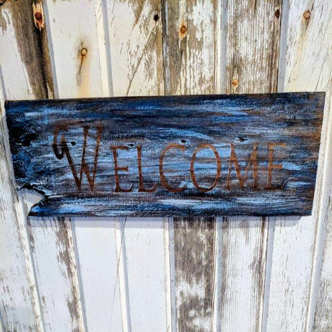 Welcome (blue) - Graceful Journey Co. Sagewood Sign Co unique gift idea, barn board signs, jewelry, mom essentials, farmhouse style, simplify your life, Premier Designs