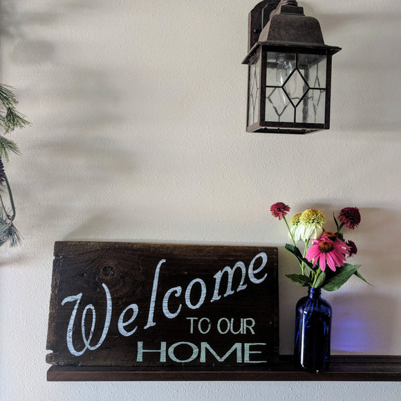 Welcome to Our Home - Graceful Journey Co. Sagewood Sign Co unique gift idea, barn board signs, jewelry, mom essentials, farmhouse style, simplify your life, Premier Designs