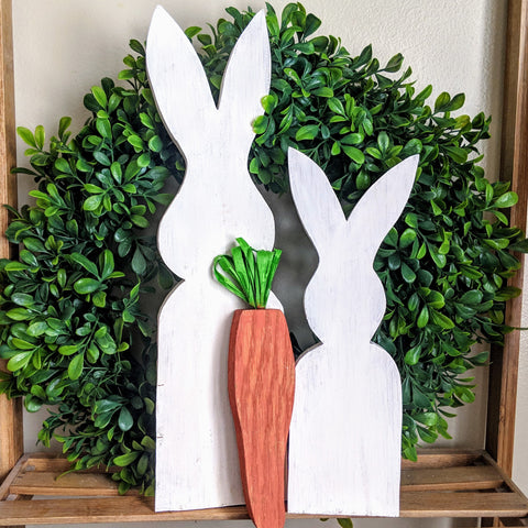 Bunny & Carrot Trio in White - Graceful Journey Co. Sagewood Sign Co unique gift idea, barn board signs, jewelry, mom essentials, farmhouse style, simplify your life, Premier Designs