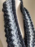 Chunky Infinity Scarf in Black and White - Graceful Journey Co. Made by MAM unique gift idea, barn board signs, jewelry, mom essentials, farmhouse style, simplify your life, Premier Designs