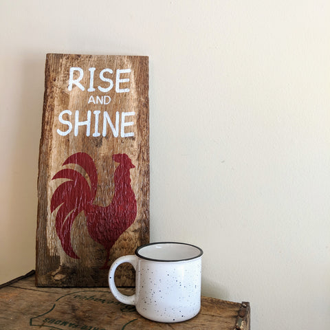 Rise and Shine in red - Graceful Journey Co. Sagewood Sign Co unique gift idea, barn board signs, jewelry, mom essentials, farmhouse style, simplify your life, Premier Designs