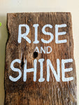 Rise and Shine in white - Graceful Journey Co. Sagewood Sign Co unique gift idea, barn board signs, jewelry, mom essentials, farmhouse style, simplify your life, Premier Designs