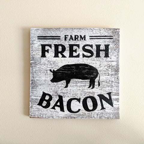 Farm Fresh Bacon in whitewash - Graceful Journey Co. Sagewood Sign Co unique gift idea, barn board signs, jewelry, mom essentials, farmhouse style, simplify your life, Premier Designs