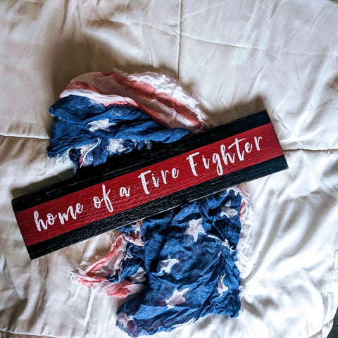 Home of a Fire Fighter - Graceful Journey Co. Sagewood Sign Co unique gift idea, barn board signs, jewelry, mom essentials, farmhouse style, simplify your life, Premier Designs