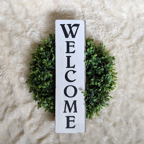 Welcome in black and white - Graceful Journey Co. Sagewood Sign Co unique gift idea, barn board signs, jewelry, mom essentials, farmhouse style, simplify your life, Premier Designs
