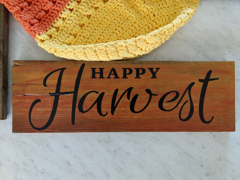 Happy Harvest in orange - Graceful Journey Co. Sagewood Sign Co unique gift idea, barn board signs, jewelry, mom essentials, farmhouse style, simplify your life, Premier Designs