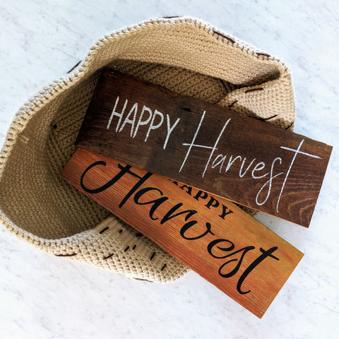 Happy Harvest in natural - Graceful Journey Co. Sagewood Sign Co unique gift idea, barn board signs, jewelry, mom essentials, farmhouse style, simplify your life, Premier Designs