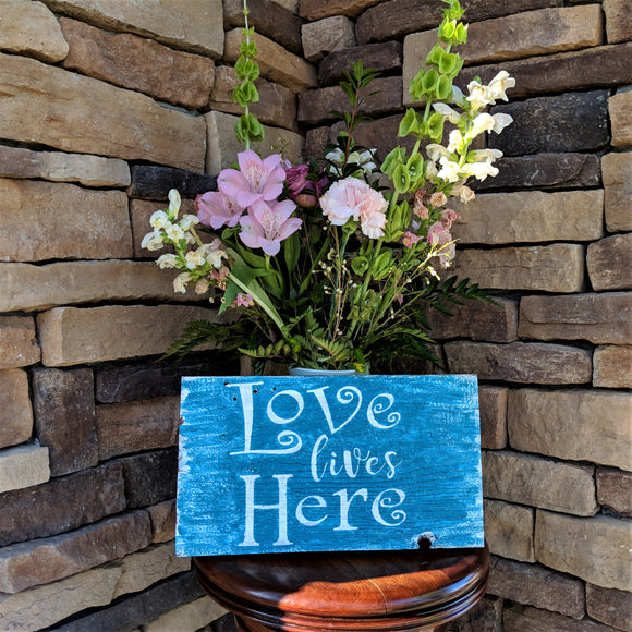 Love Lives Here - Graceful Journey Co. Sagewood Sign Co unique gift idea, barn board signs, jewelry, mom essentials, farmhouse style, simplify your life, Premier Designs