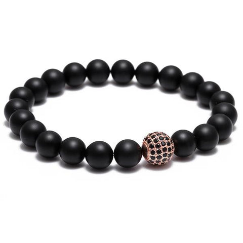 BLACK & PINK GOLD ZIRCON BALL BRACELET - Wrist Avenue