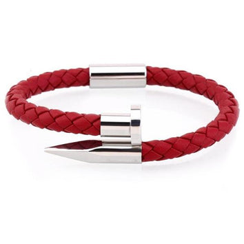 Red Silver Nail Bangle - Wrist Avenue