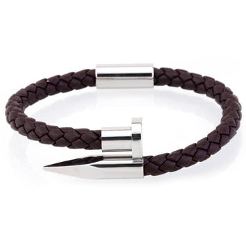 Brown Silver Nail Bangle - Wrist Avenue