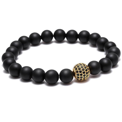 BLACK & GOLD ZIRCON BALL BRACELET - Wrist Avenue