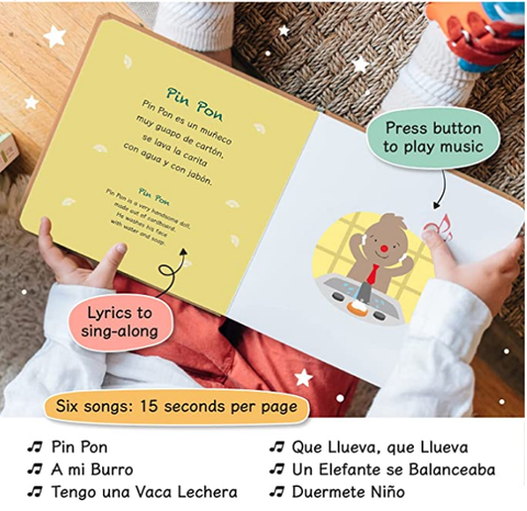 Cali's Books Spanish Nursery Rhymes Sound Book for Babies,Toddlers 1-3, 2-4 Girl and Boy