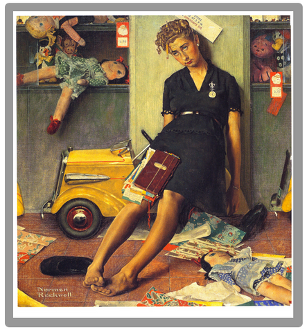Norman Rockwell Exhausted Mom