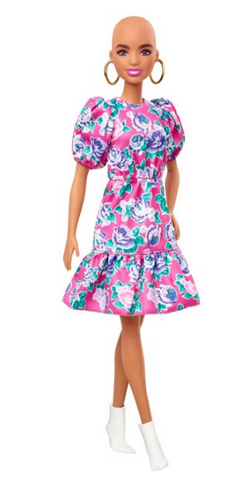 Barbie Fashionistas Doll #150 with No-Hair Look & Floral Dress