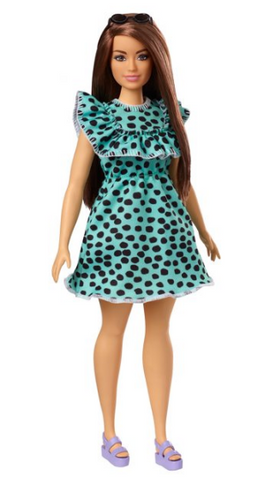 Barbie Fashionistas Doll #149 With Long Brunette Hair & Polka-Dot Dress