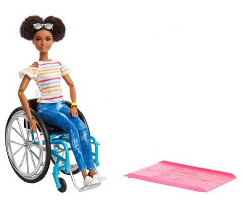 Barbie Fashionistas Doll, Brunette Hair with Wheelchair & Ramp