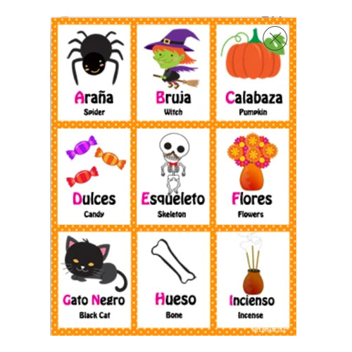 Printable Halloween Day of the Day Bilingual Flash Cards