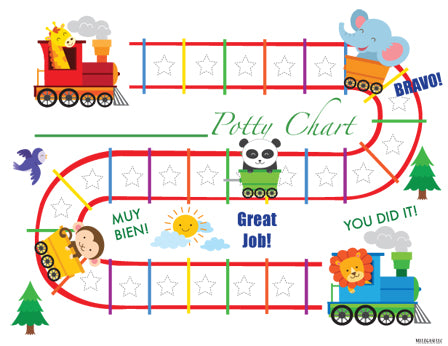 picture about Free Printable Potty Training Charts named Printable Animal Teach English Potty Performing exercises Chart Obtain
