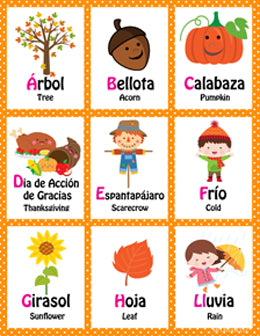 Mi LegaSi Autumn Otoño Fall Bilingual ABC Flashcards Download - Mi LegaSi
