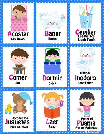 picture relating to Spanish to English Flashcards With Pictures Printable named Mi LegaSi Bilingual Bedtime Program Flashcards and Benefit Chart Printable Obtain Blue