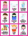 Mi LegaSi Bilingual Bedtime Routine Flashcards and Reward Chart Printable Download Pink