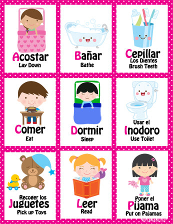 Mi LegaSi Bilingual Bedtime Routine Flashcards and Reward Chart Printable Download Pink - Mi LegaSi