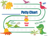 Printable Dinosaur English Potty Training Reward Chart Download