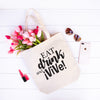 Eat, Drink, and Vive! - Heavy Duty and Strong Large Natural Canvas Tote Bag with Bottom Gusset - Mi LegaSi