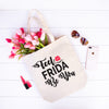 Feel Frida Be You - Heavy Duty and Strong Large Natural Canvas Tote Bag with Bottom Gusset for Shopping! - Mi LegaSi