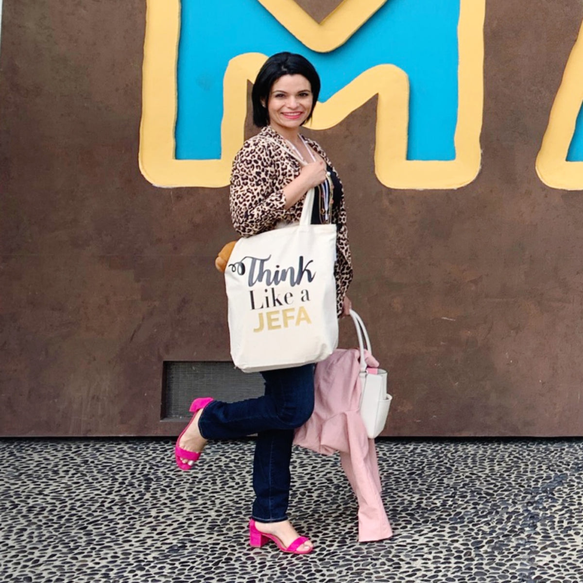 Think Like a Jefa -  Heavy Duty and Strong Large Natural Canvas Tote Bag with Bottom Gusset for Shopping! - Mi LegaSi