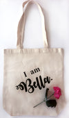 I am Bella. - Heavy Duty and Strong Large Natural Canvas Tote Bag with Bottom Gusset for Shopping! - Mi LegaSi