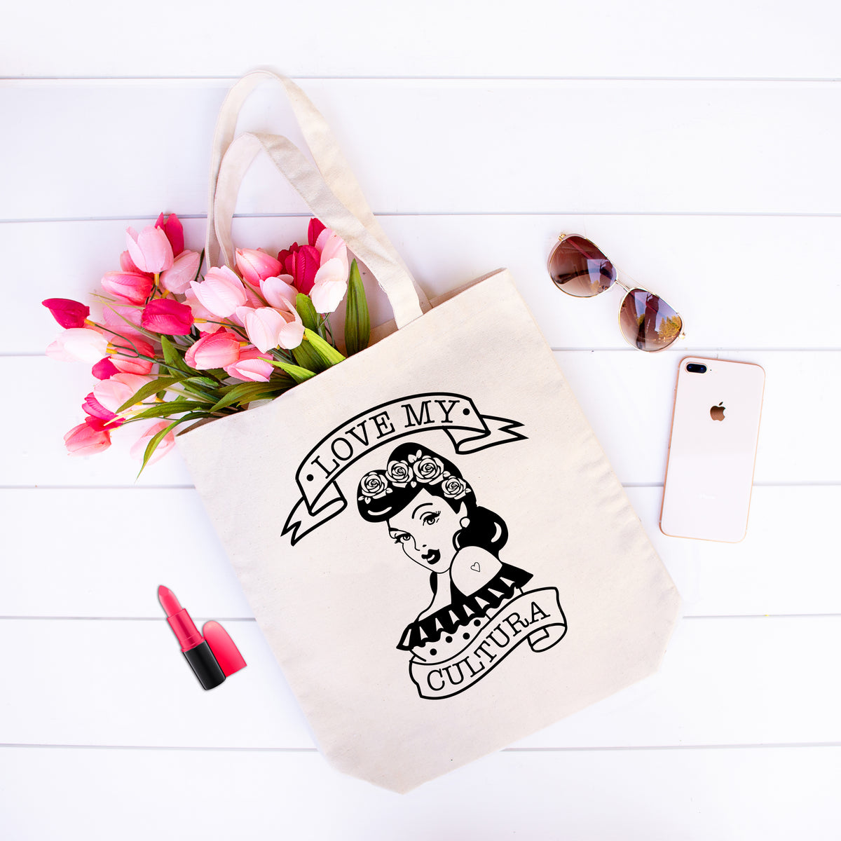 Love My Cultura - Latinx Pride Heavy Duty Natural Canvas Tote Bag with Bottom Gusset - Mi LegaSi