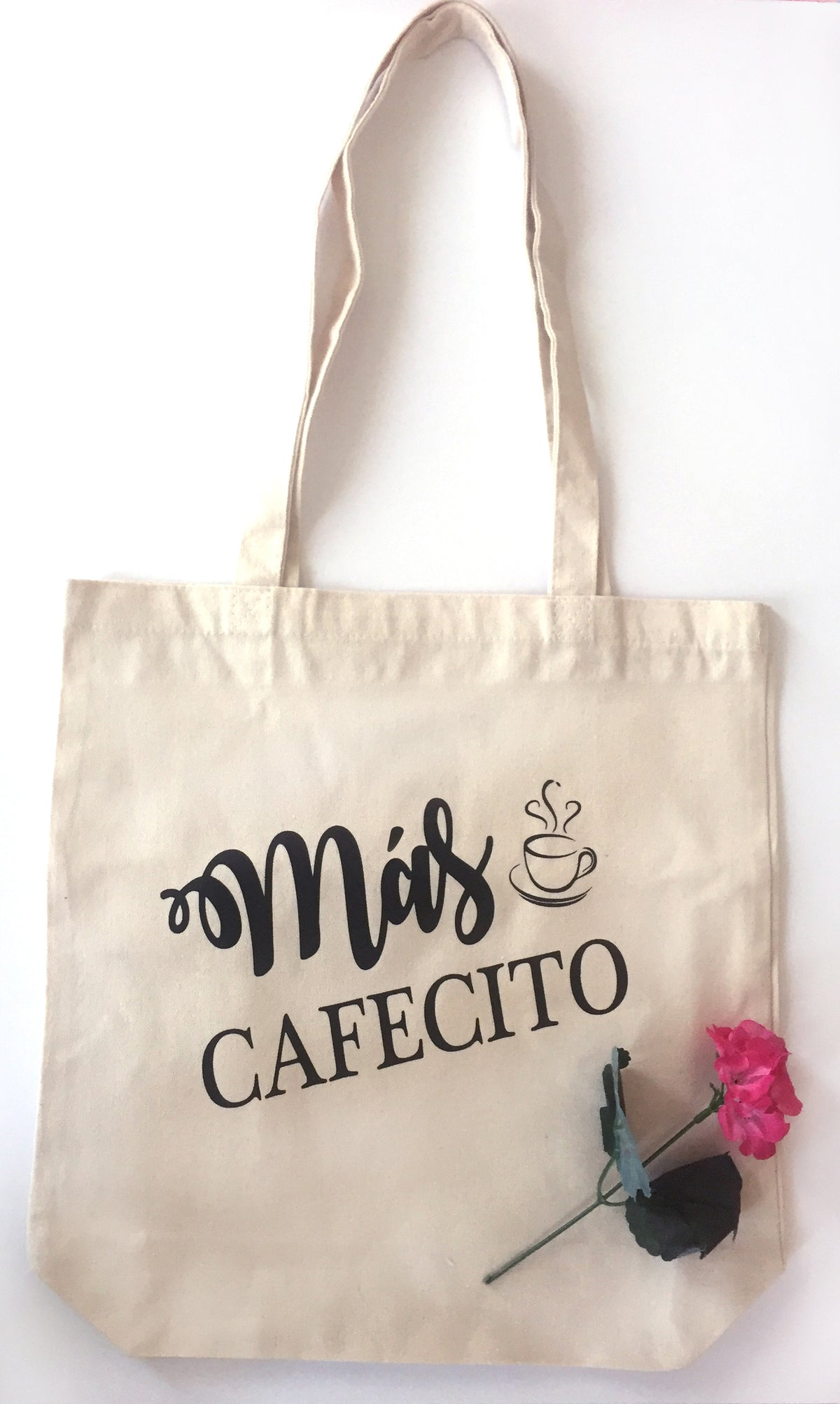 Mas Cafecito - Heavy Duty and Strong Large Natural Canvas Tote Bag with Bottom Gusset for Shopping! - Mi LegaSi