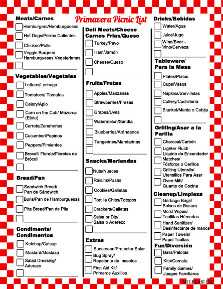Mi Legasi Bilingual Mom and Me Bilingual Picnic Helper Shopping Lists Download - Mi LegaSi
