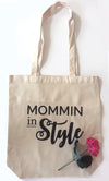 Mommin in Style! - Heavy Duty and Strong Large Natural Canvas Tote Bags with Bottom Gusset - Mi LegaSi