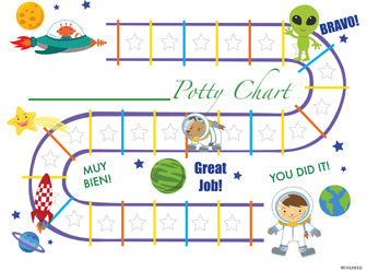 Printable Outer Space Bilingual Potty Training Chart Download - Mi LegaSi