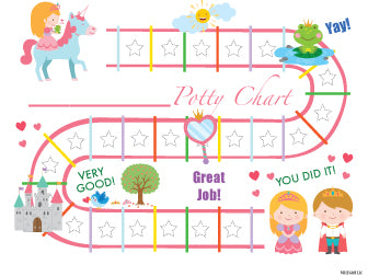 Printable Pink Princess English Potty Training Chart Download - Mi LegaSi