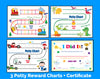 Printable Boys 3 Pack Bilingual Spanish Potty Training Reward Charts and Certificate Download