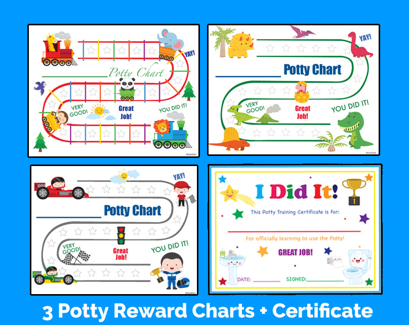 Printable Boys 3 Pack English Potty Training Reward Charts and Certificate Download